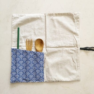 Zero Waste Reusable Cutlery Straw Roll Up Wrap