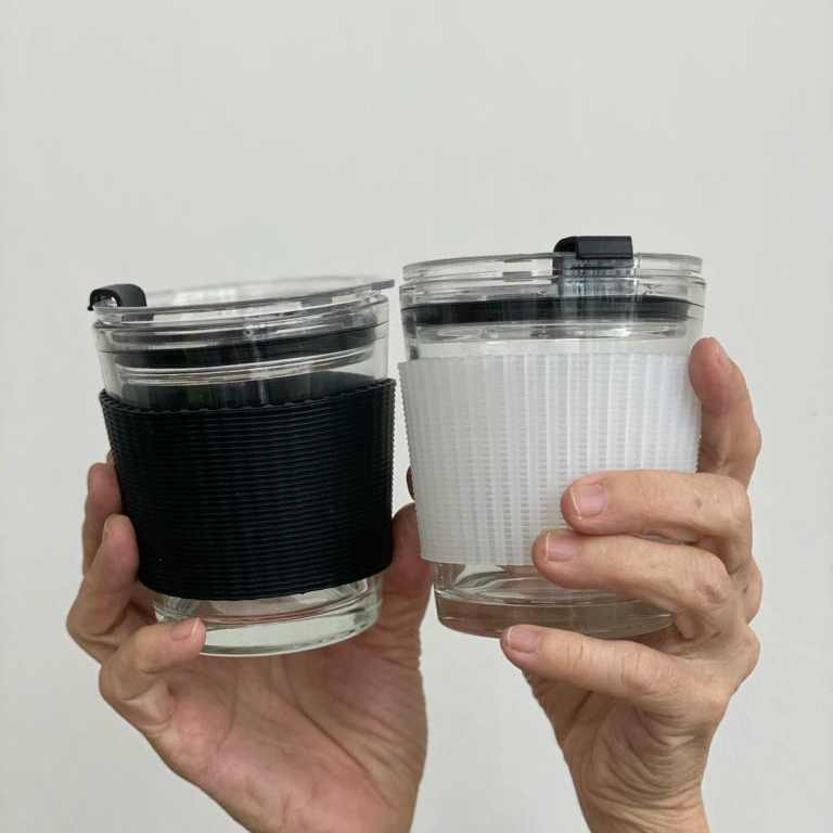 Wellness Within Reusable Borosilicate Glass Leak-Proof Coffee Cup